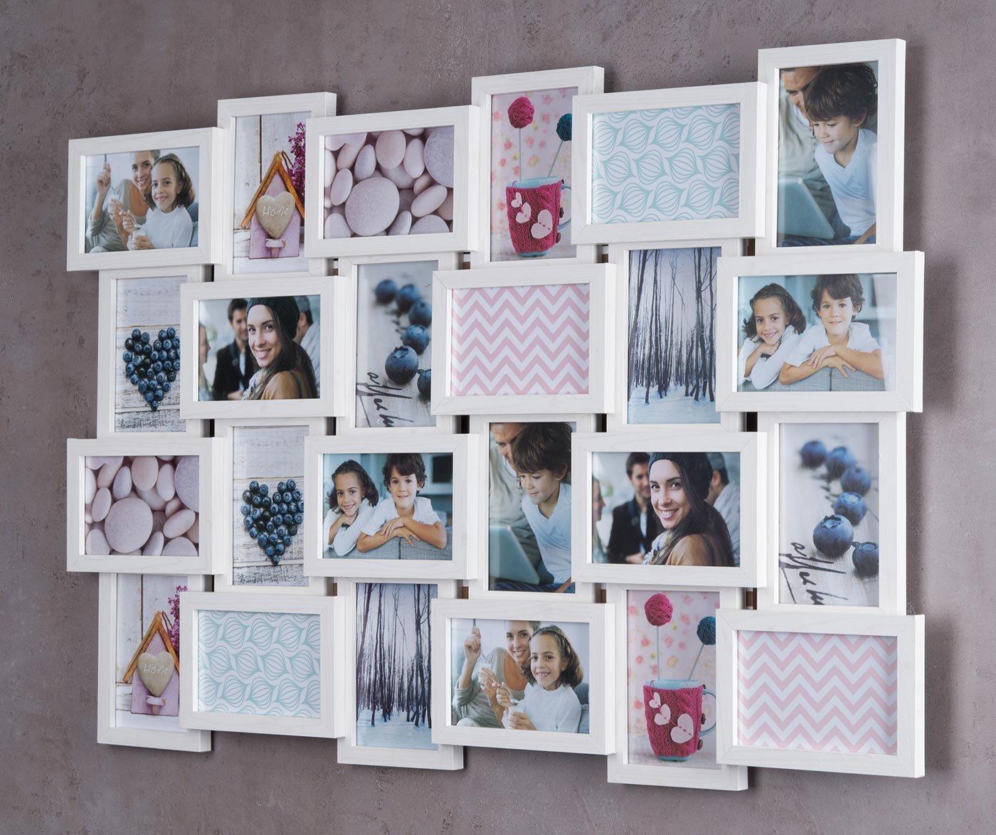 Levandeo Holz Bilderrahmen 57x84cm für 24 Fotos Format 10x15cm Glasscheiben in Farbe  Ahorn Weiß