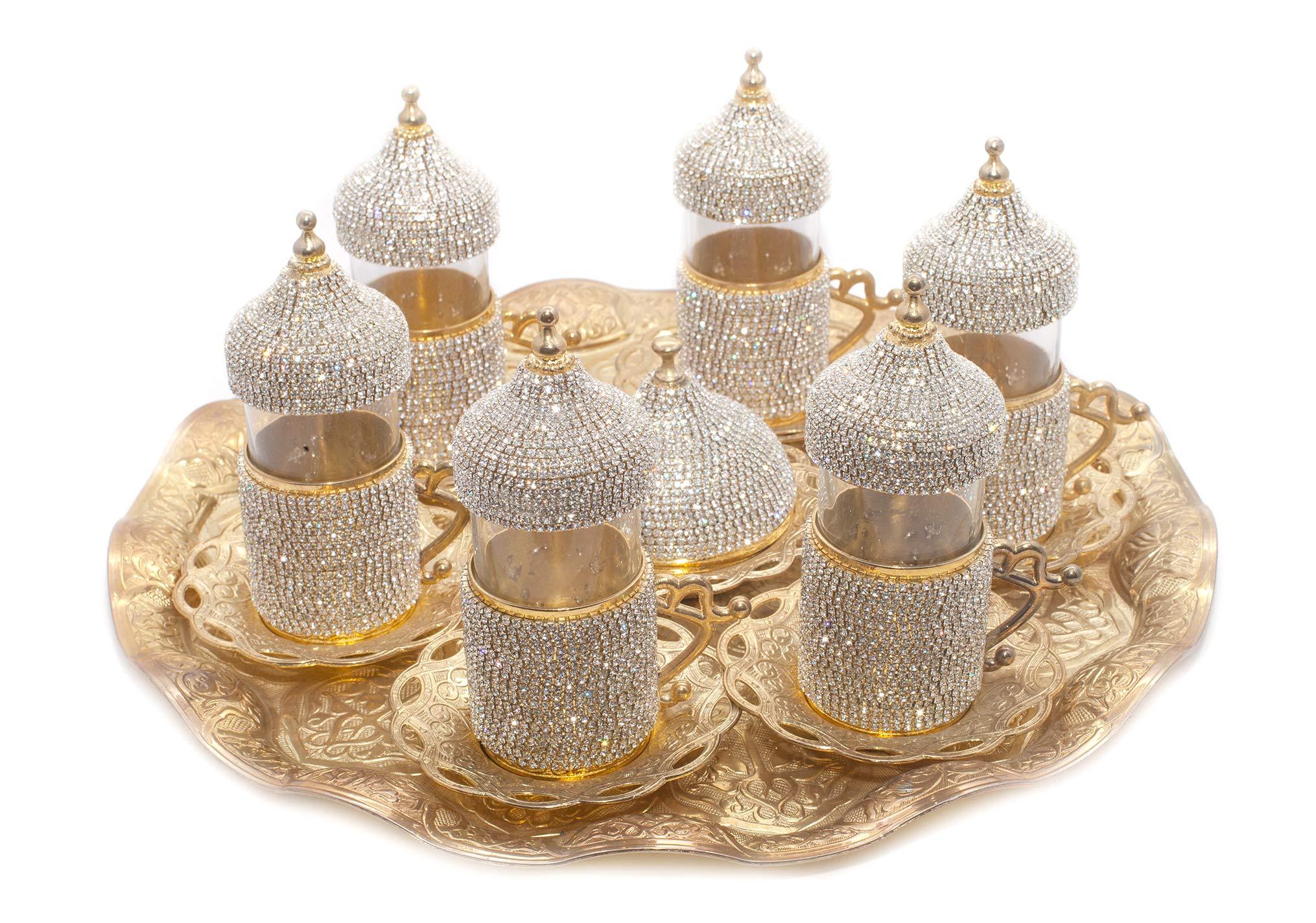 Handmade Copper Turkish Coffee Espresso Tea Set Swarovski Crystal Coated Cup