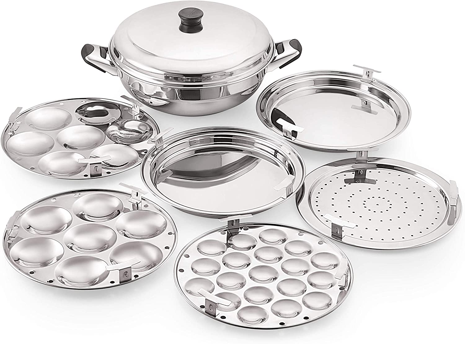 Komal Multi Kadai with Induction Bottom 6 Pcs Set,1-Steamer Plate,1 Mini Idli Plate (19 Cavities),2 Idli Plates,2 Dhokla Plates,Silver