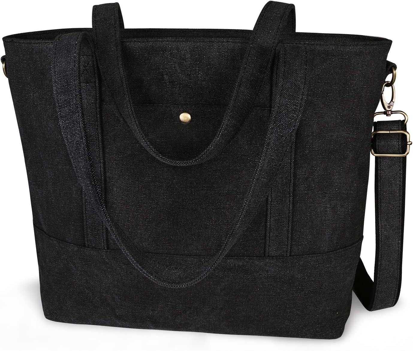 IDAILU Canvas Laptop Tote Bag for Women Fits 13 14 Inch Computer Large Capacity Work Travel Shoulder Handbag with Padding (Black)