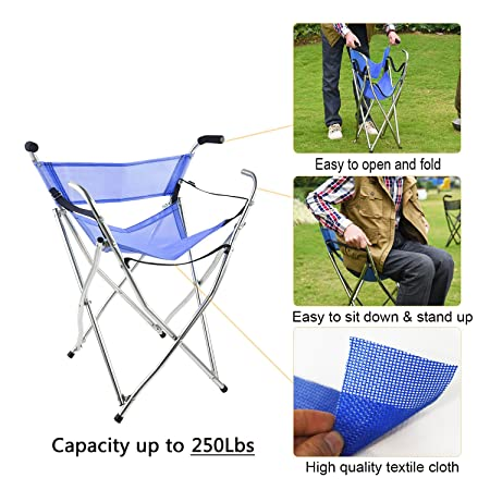Frehsore Walking Stick Folding Cane Seat for Women/Men 250 lbs with Heavy Duty - Walker Chair Bench Camping Travel Stool 2 Handle with 4 Legs (for Standard Figure)
