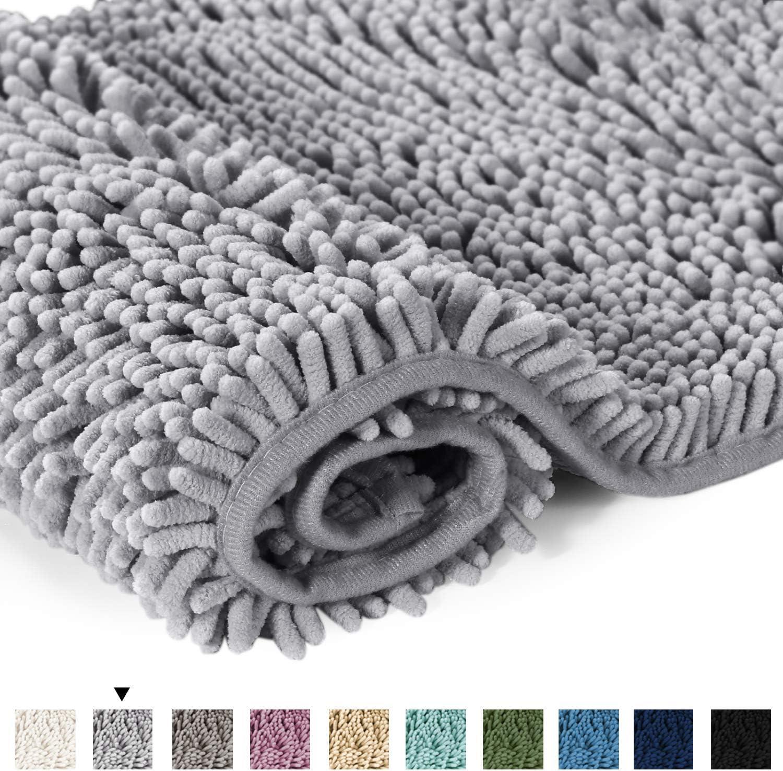 H.Versailtex Soft Absorbent Non Slip Bath Rug Fluffy Microfiber Chenille Bath Mat Bathroom Mat Machine Washable Ivory Shower Rug 50 x 80 CM