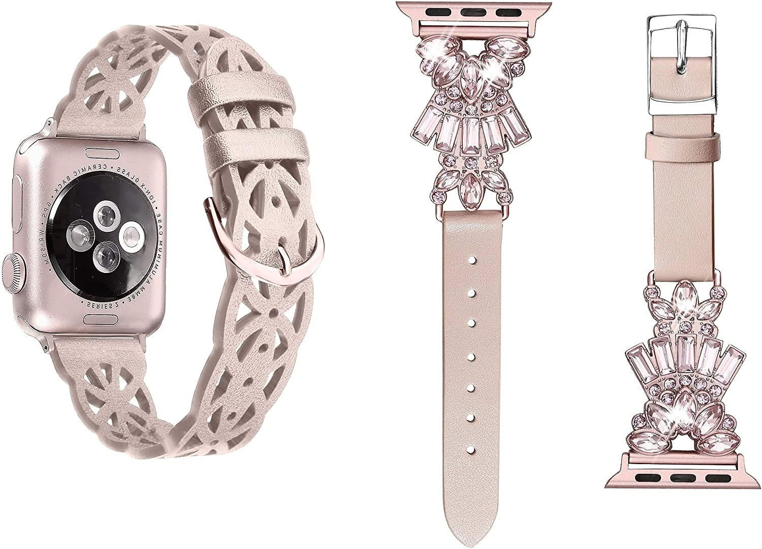Secbolt Rose Gold Hollowed-Out Leather Band and Pink Leather Band with Bling Compatible with Apple Watch Band 38mm 40mm iWatch SE Series 6 5 4 3 2 1