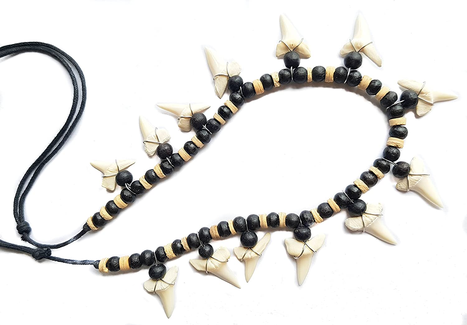 Swimmi 13! Mako Shark Tooth Wooden Beads Necklace 20 to 30 inch Adjustable ; GA056