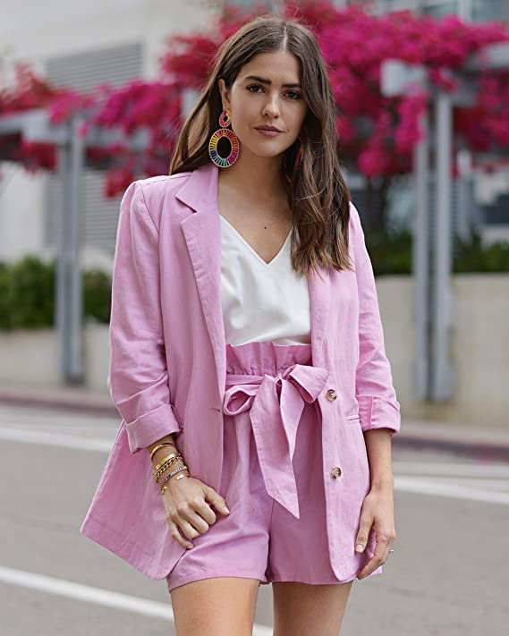 The Drop Womens Natural Oversized Double Breasted Linen Blazer by @paolaalberdi
