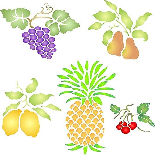 pi/ña frutas small lim/ón cereza uva Plantilla para estarcir frutas pera