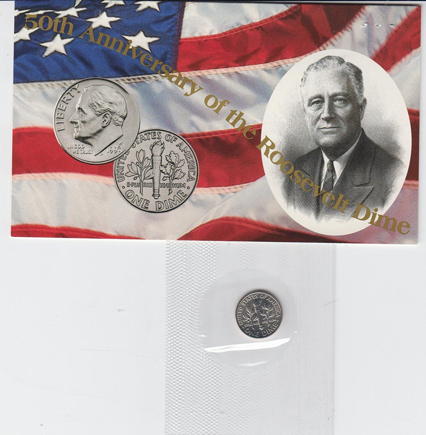FDR 50th Anniversary Issue 1996 W dime Still in Mint set cello with COA