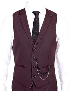Jack Martin Percy Burgundy Semi Plain Collared Suit Waistcoat