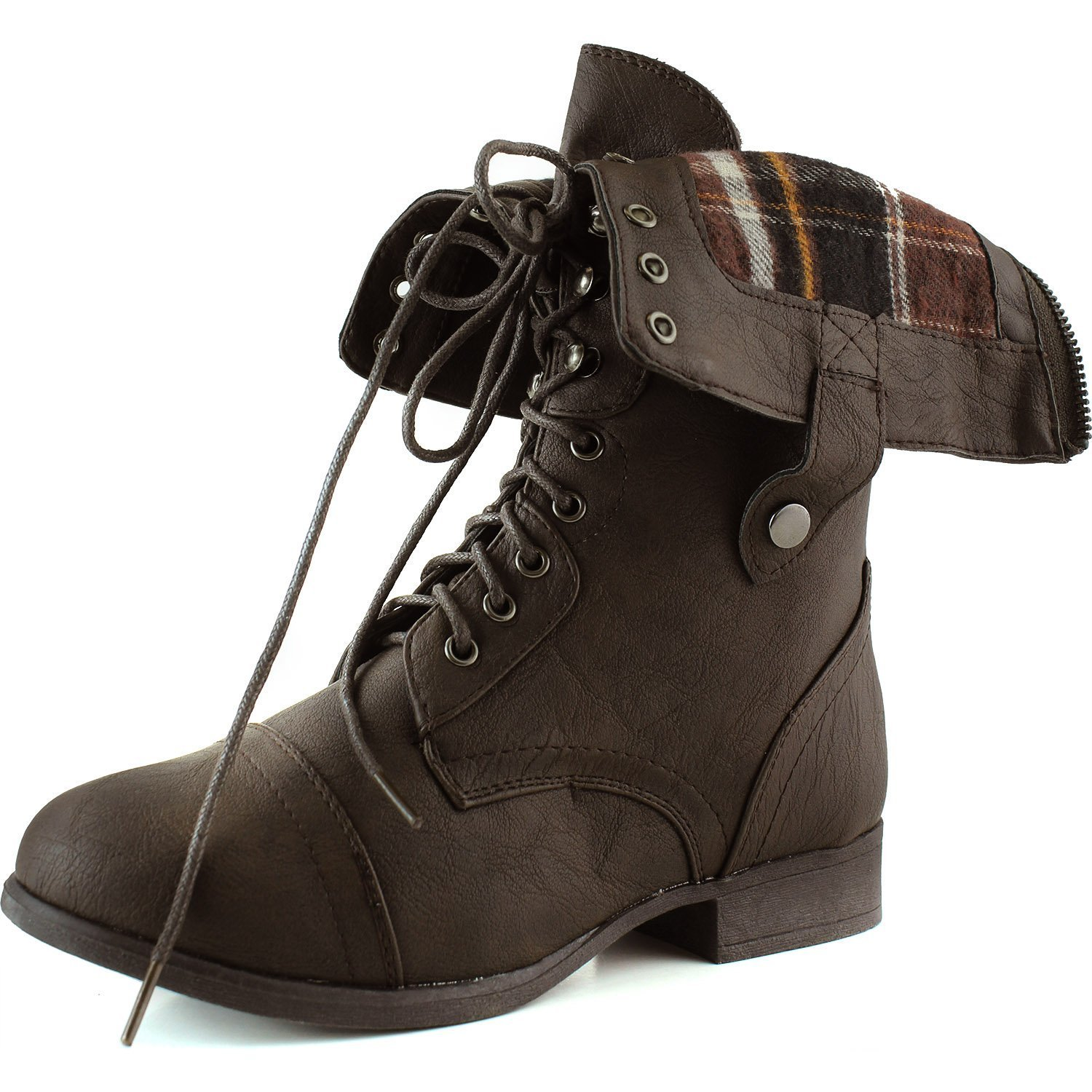 Top Moda Women's Military Lace up Fold-able Ankle Bootie Mid Knee Combat Boots,Smart-1 Brown (Two-Way Foldable) 9