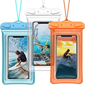 "Waterproof Phone Pouch, BuyAgain Universal Floatable Waterproof Phone Case Underwater Dry Bag with Lanyard for iPhone Xs Max/XR/X/8/7 Plus Galaxy Pixel Up to 6.5"", 3 Pack"