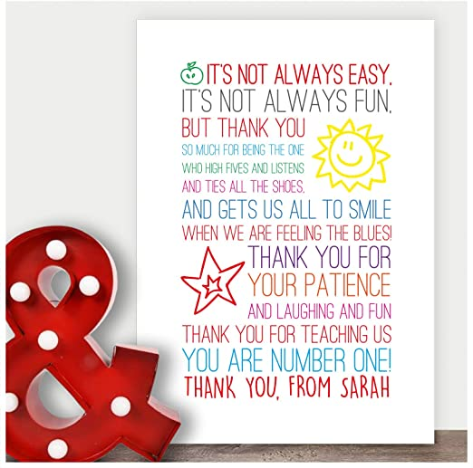 THANK YOU XMAS GIFT NECKLACE TEACHER NURSERY ASSISTANT PERSONALISED CARD PRESENT