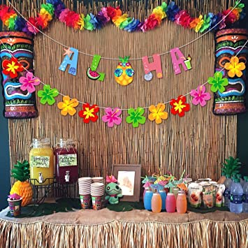 Unomor Aloha Hawaii Party Banner Deko 12pcs Blumen Banner For