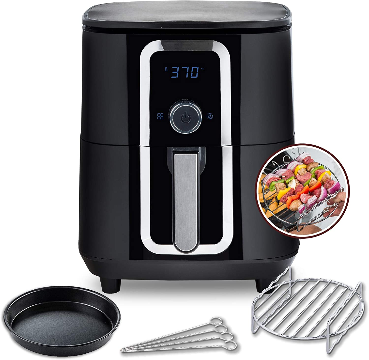 Aria Air Fryers CPA-895 Aria Ceramic Air Fryer, 7Qt, Premium Black with Stainless Steel Accents