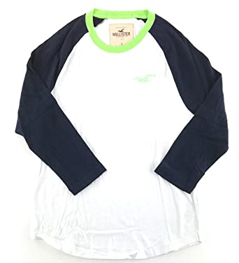e2003ccf7 Hollister Mens Long Sleeve T-Shirt Large White Navy Three-Quarter Sleeve  0145