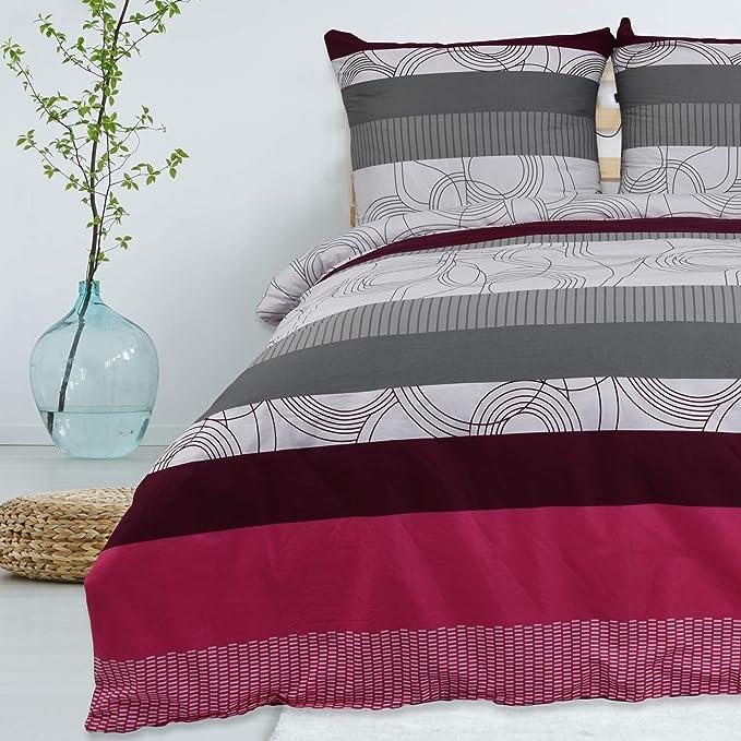 Imagen deBuymax - Juego de Cama (2 o 3 Piezas, algodón Reforzado, Cierre de Cremallera, diseño Estampado), algodón, Estampado 2, 135x200 + 80x80cm