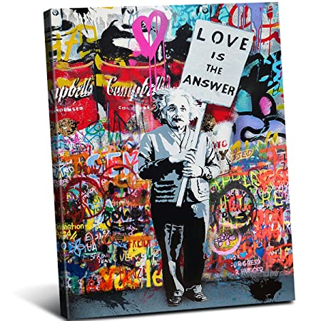 Framed Einstein Poster Love is the answer Wall Art Painting Abstract Street Graffiti Art Canvas Artwork for Living Room Decor 1 Pcs