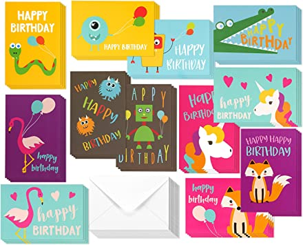 Groovy Amazon Com 48 Pack Children Birthday Cards Unicorn Flamingo And Funny Birthday Cards Online Fluifree Goldxyz