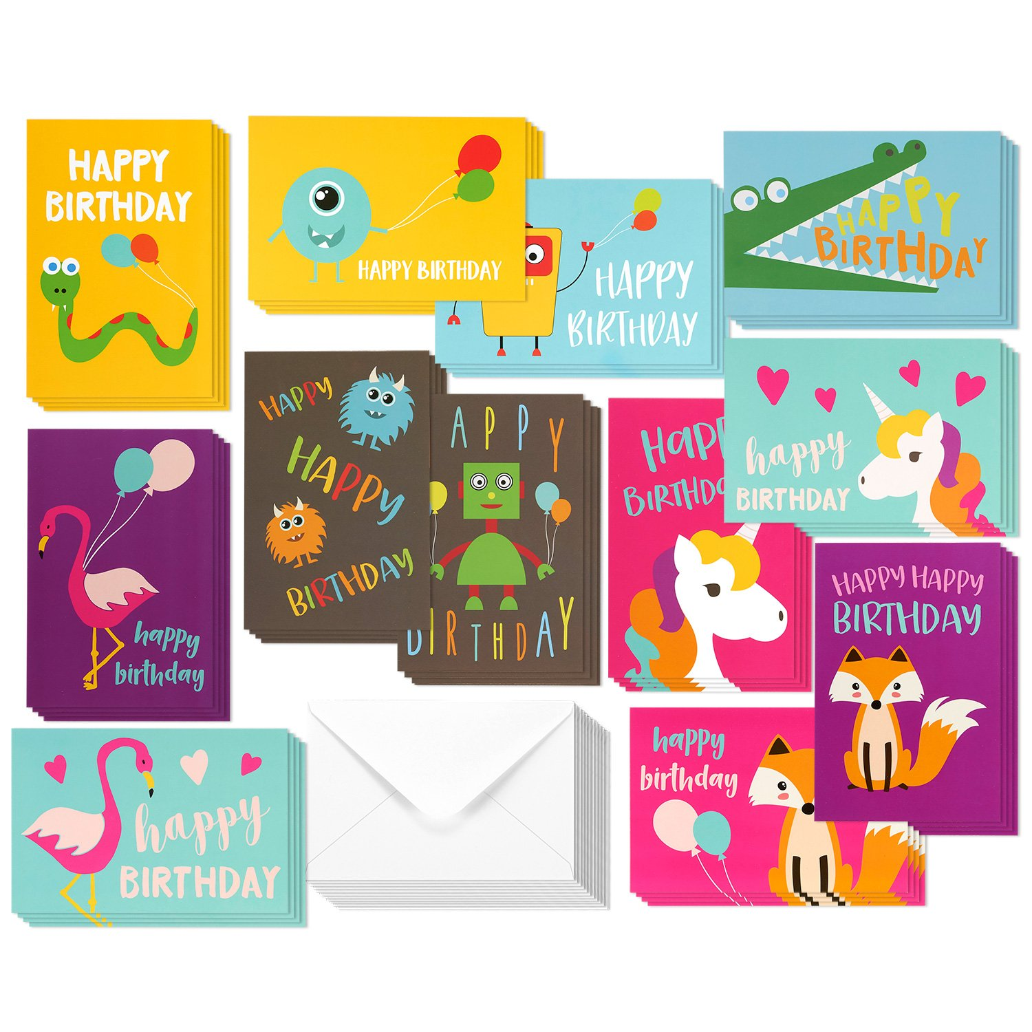 48 Pack Children Birthday Cards Unicorn Flamingo And Monster Designs Happy Greeting Assortment For Kids Variety