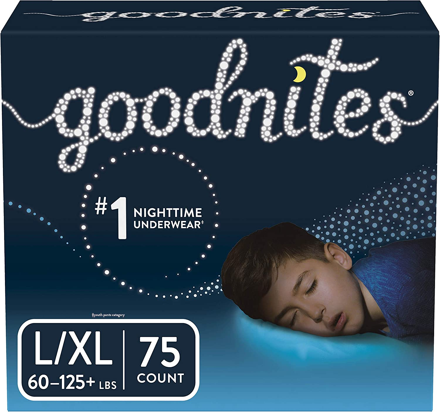 Goodnites Bedwetting Underwear for Boys, L/XL, 75 Ct, Stock Up Pack