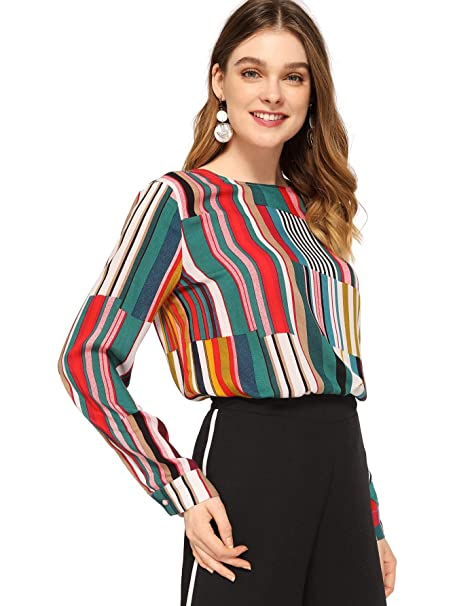 b5c5bdb81091f8 SheIn Women's Casual Long Sleeve Round Neck Tops Mixed Striped Blouse  X-Small Multicolor