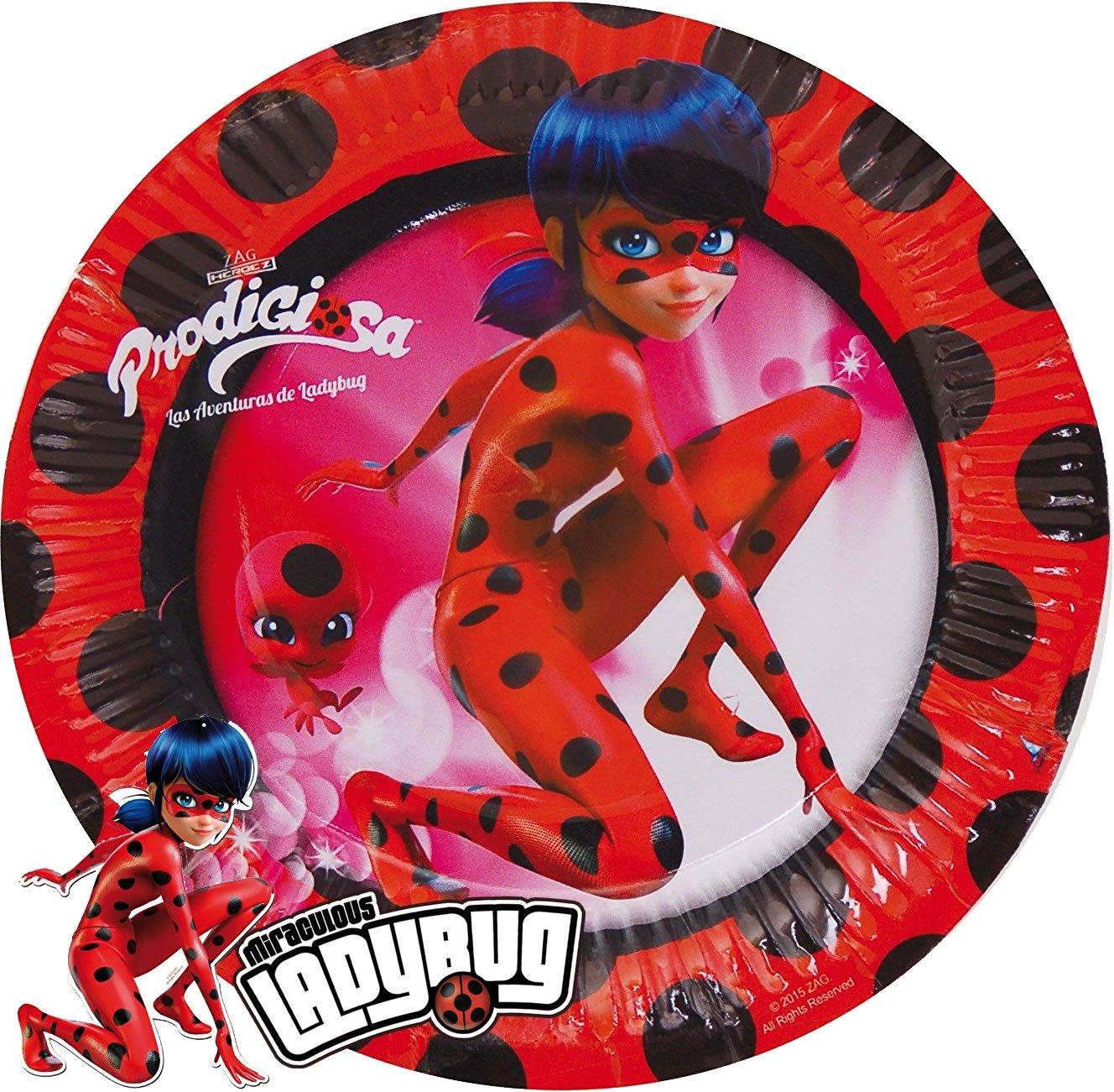 8 platos * Lady Bug * Cumpleaños para niños o superheldinnen ...
