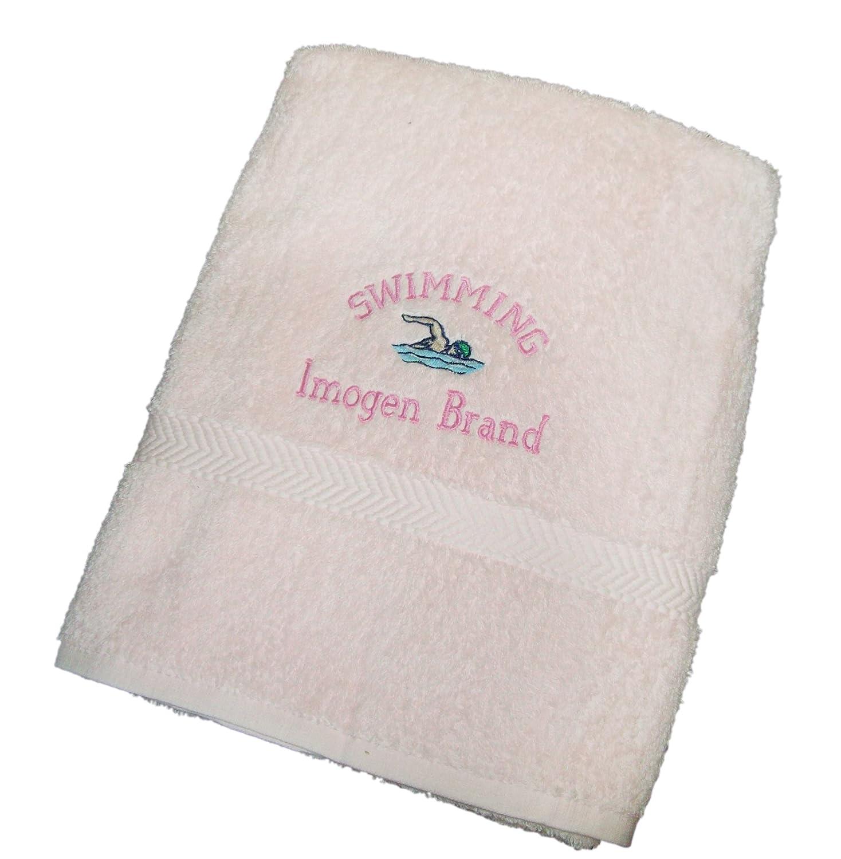 Bolsa de natación con cierre - toalla de personalizado de tu propio 100% de algodón rosa toalla de baño, diseño de escudo bordado: Amazon.es: Deportes y ...
