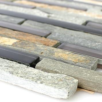 Glas Naturstein Mosaik Fliesen Grau Beige Braun Mix