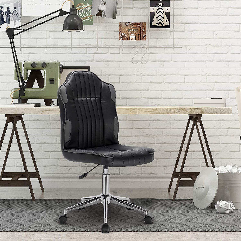 Relaxbx kontorsstol svängbar gaslyft justerbar stol med armstöd ryggstöd dator skrivbord stol konstläder säte vit Grå