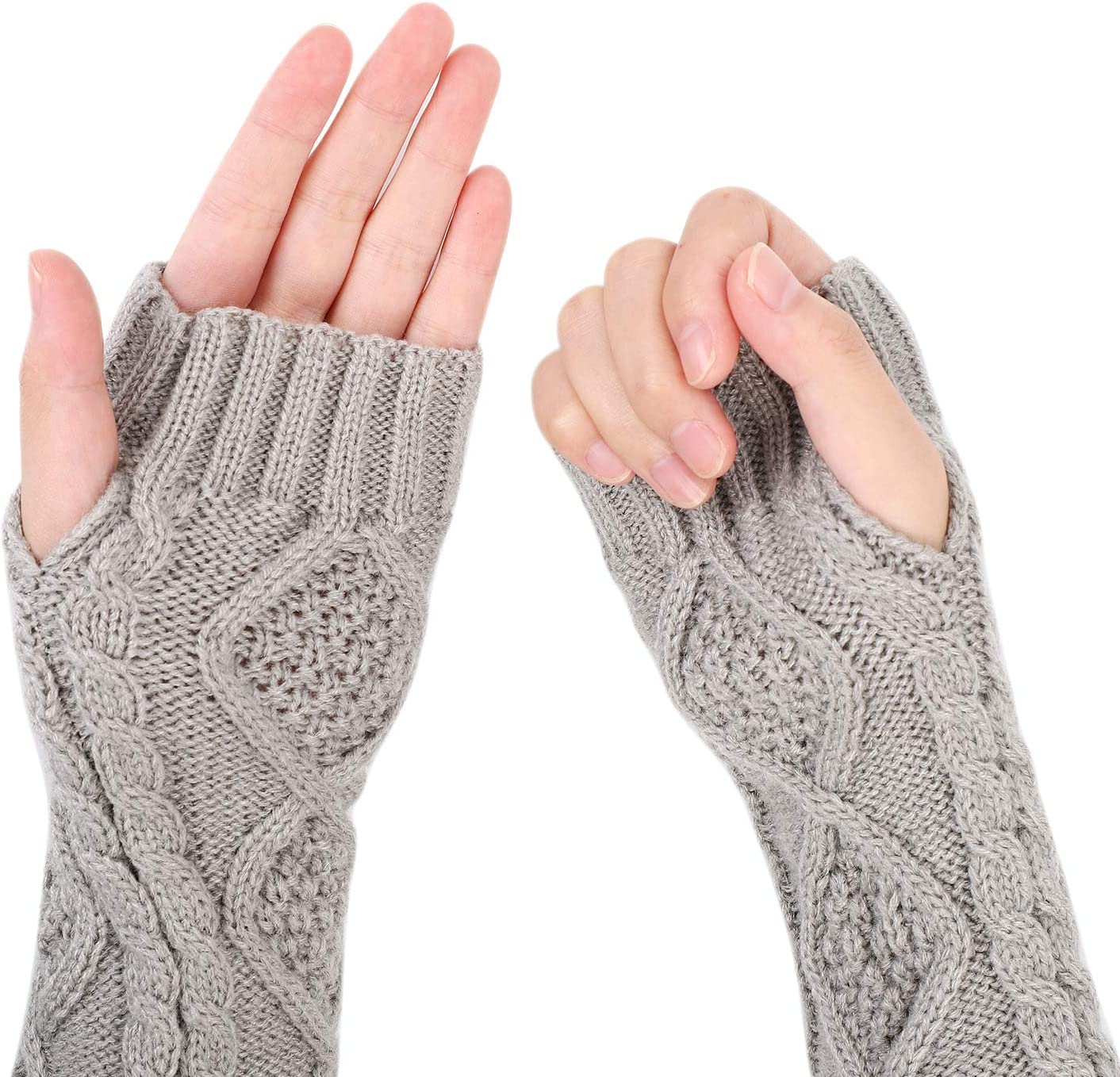 Handw/ärmer Fingerlose Gestrickt Armw/ärmer Halbfinger Winterhandschuhe Handgelenk Arm Pulsw/ärmer F/äustlinge Handgelenkw/ärmer Rhombus Muster Armstulpen Strickhandschuhe f/ür Damen M/ädchen