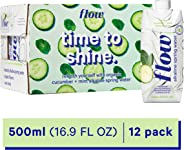 Flow Alkaline Spring Water, Organic Cucumber + Mint, 100% Natural Alkaline Water pH 8.1, Electrolytes + Essential Minerals, E
