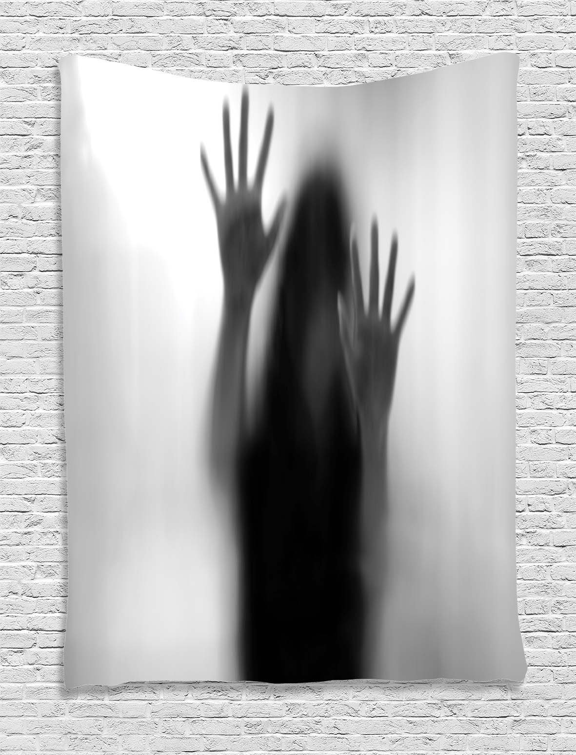 Ambesonne Horror House Decor Tapestry by, Silhouette of Woman behind the Veil Scared to Death Obscured Paranormal Photo, Wall Hanging for Bedroom Living Room Dorm, 40WX60L Inches, Gray