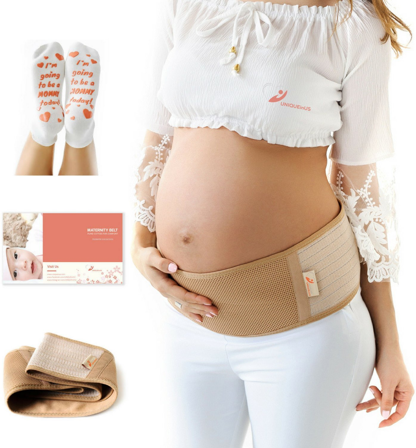 UNIQUEinUS Maternity Belt, Breathable Belly Band for Pregnancy Support: Hip, Pelvic and Lower Back Pain Relief. Adjustable Pregnancy Belt and Labor Socks Bonus. Abdominal Binder One Size, Beige