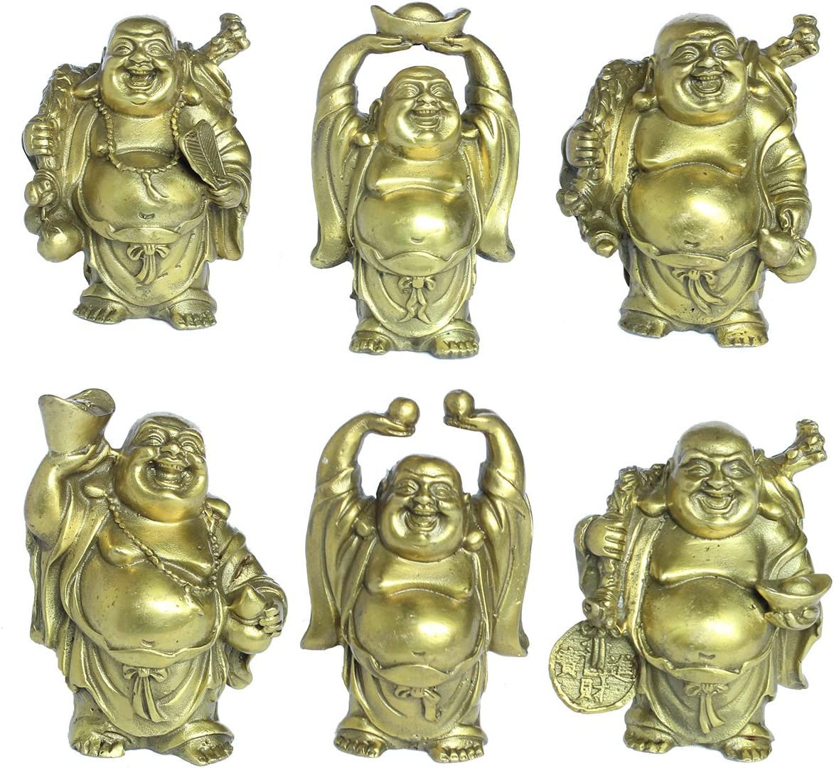 Christmas Characteristic Gift Decoration Laughing Buddha Figurines Lucky Happy Buddha Statue-Set of 6 3.5 Brass