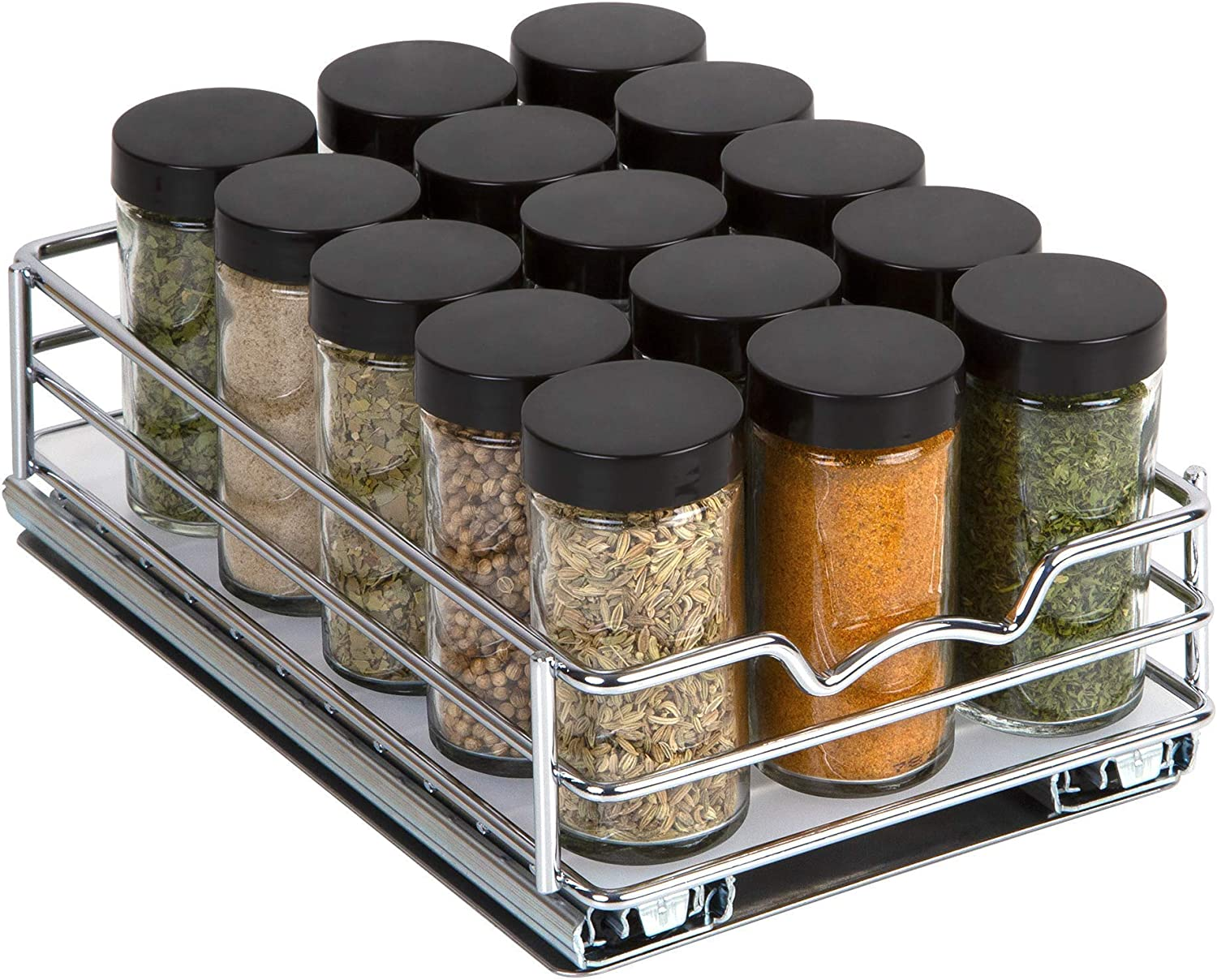 Spice Rack Organizer for Cabinet – Pull Out Spice Rack Heavy Duty Chrome 6-3/8