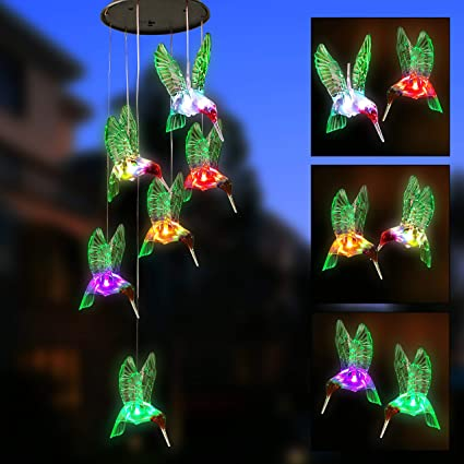 Color Changing Hummingbird Wind Chime Waterproof Solar Mobile Wind Chime Outdoor Mobile Hanging Patio Light for Patio Yard Garden Home Best Gifts for Mom Christmas Garden Wind Chimes Outdoor