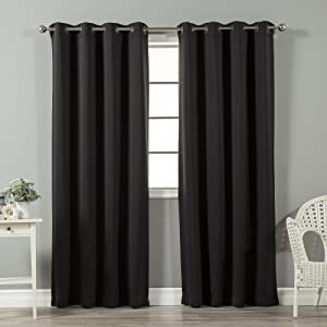 "Best Home Fashion Basic Thermal Insulated Blackout Curtains - Antique Bronze Grommet Top - Black - 52"" W x 96"" L – (Set of 2 Panels)"