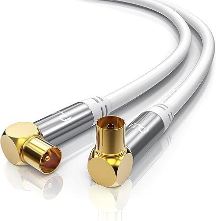 CSL-Computer 2,0m Cable de Antena HQ HDTV Premium - En ángulo 90 Grado - Factor de blindaje 135 dB - Resistencia 75 ohmios - Cable coaxial - Clavija ...