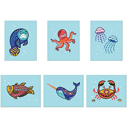 3D Learning LLF Aquatic Animals Nursery Wall Decor Wall Prints– Six 8×10  Unframed Soft Touch Designs – Neutral Unisex Wall Art for Kids Bedroom  Beach