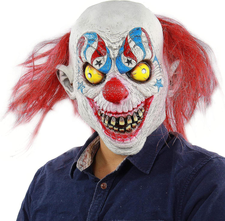 Xiao Chou Ri Ji Evil Circus Clown Is A Scary Halloween Costume That Plays The Lifelike Latex Mask Amazon Co Uk Clothing