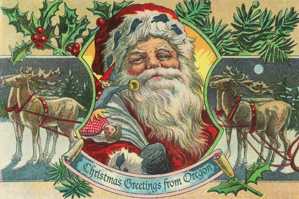 Christmas Greetings From Oregon – サンタとトナカイ 36 x 54 Giclee Print LANT-32397-36x54 36 x 54 Giclee Print  B017E9SZZ6