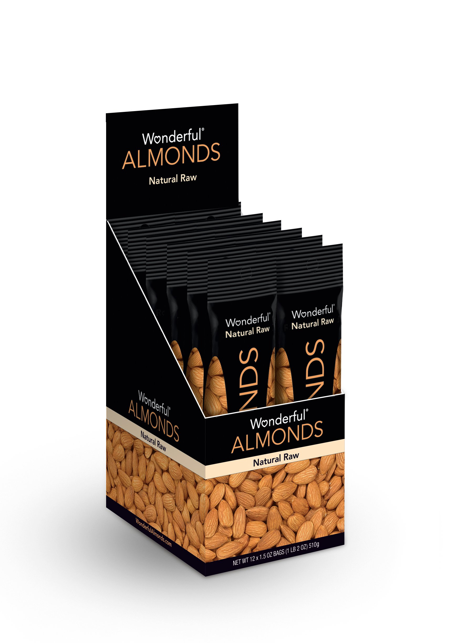 Wonderful Almonds, Natural Raw, 1.5 Ounce Bags (Pack of 12)