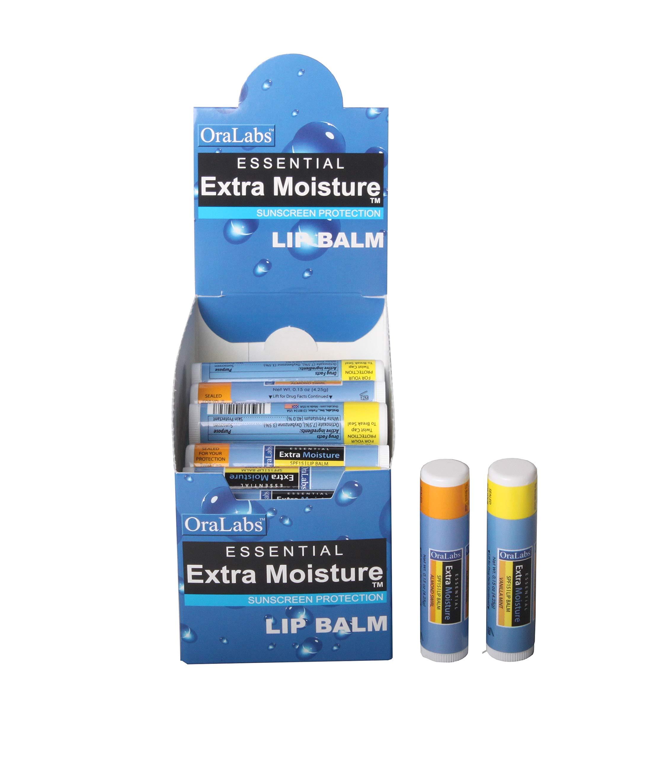 Lip Naturals Extra Moisture Sunscreen Lip Balm, 32 Count (Almond Swirl, Vanilla Mint)