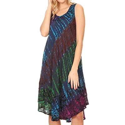 Sakkas 181501 - Isola Women's Tank Summer Bohemian Swing Midi Dress Sleeveless Tie-dye - Teal - OS at Women's Clothing store