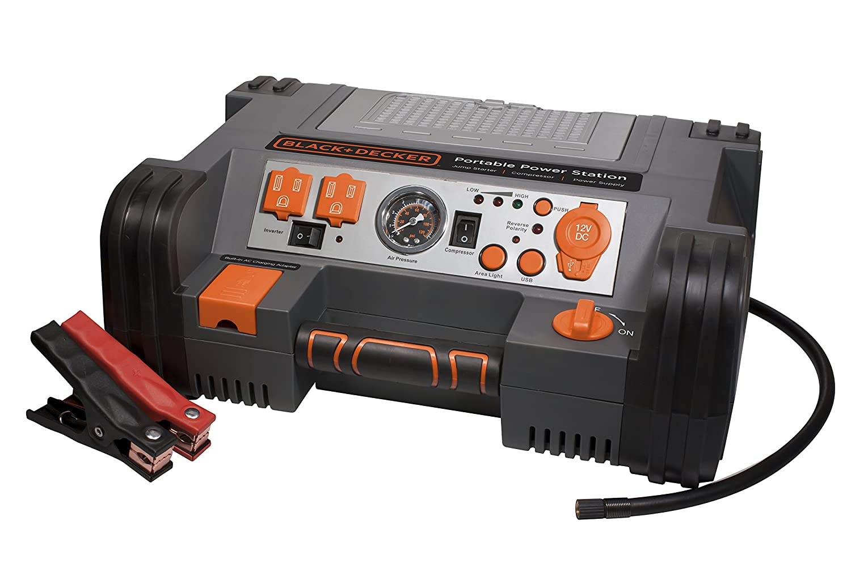 Black Decker Pprh5b Portable Power Station Jump Starter Air Compressor 12 Volt Solenoid Wiring Diagram 900 Peak 450 Instant Amps 500w Inverter 120 Psi Battery Clamps