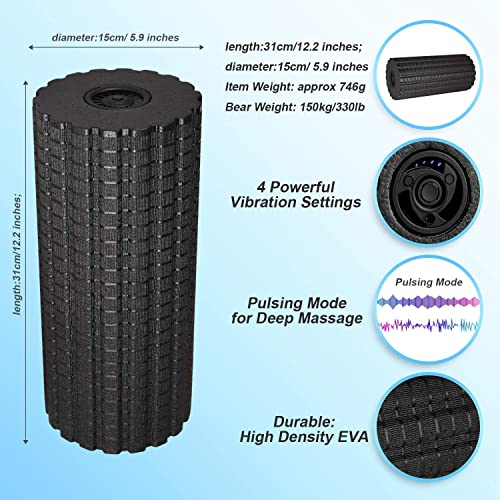 Electric Foam Roller with 4 Speed – High Intensity Vibration Massager for Muscle Recovery, Pliability Training Deep Tissue Trigger Point Sports Massage Therapy