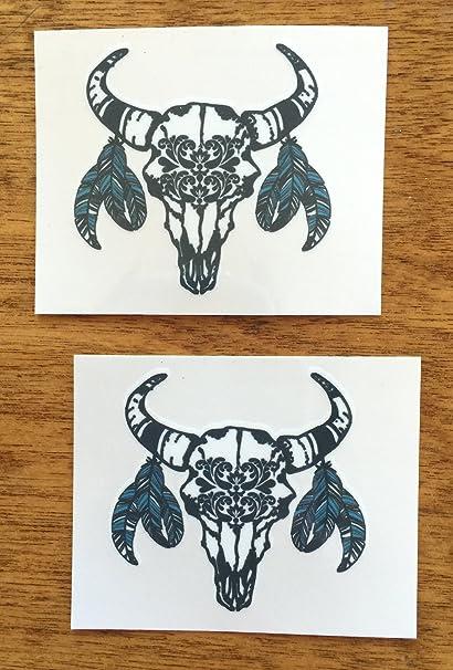 Amazoncom Bohemian Western Bull Skull Temporary Tattoo