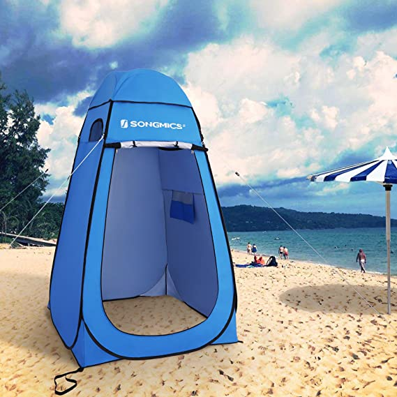SONGMICS Toldo portátil Pop up Toldo Multiuso Proteger la privacidad Playa Impermeable con Bolsa de Transporte Techo de Tela de Malla Base extraíble ...