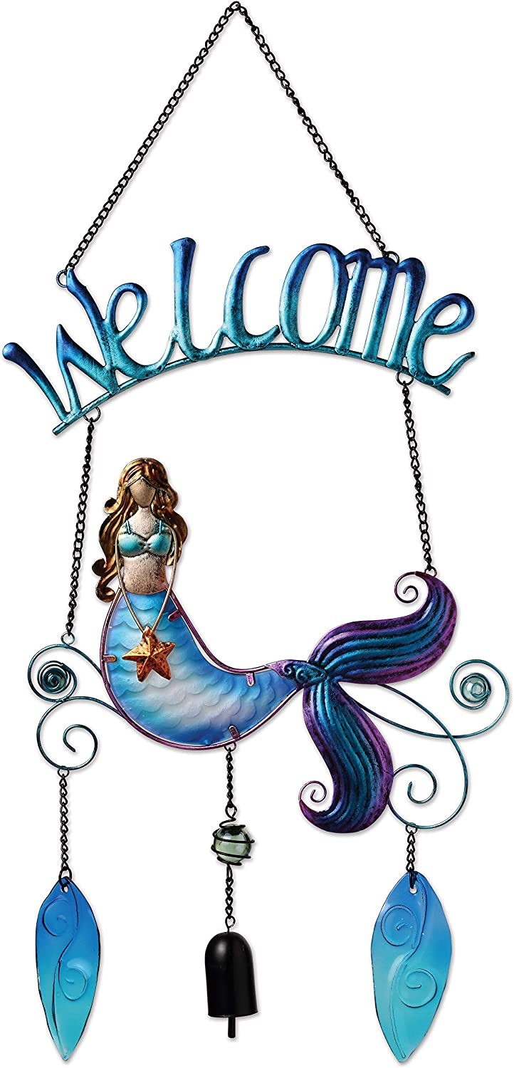 Sunset Vista Designs 12 Metal and Glass Decorative Welcome Sign, Mermaid