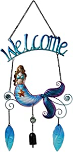 Sunset Vista Designs 92248 Metal and Glass Decorative Welcome Sign, Mermaid