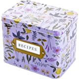 "WUWEOT Recipe Card Box, Tin Recipe Organizer Decorative Garden Floral Gift Box (6.3""x4.3""x5"")"